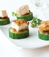 Chicken and Cucumber Canapes with Onion Marmalade