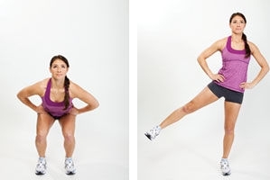 Squats with leg to side