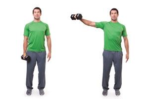 Single arm lateral dumbbell raise