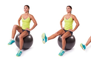 Stability Ball Seated Knee Tucks