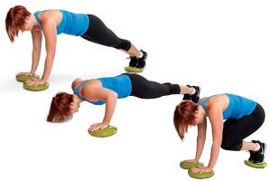 Plate Slide Push-Up Knee Tucks