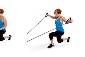 Reverse Lunge and Resistance Band 45 Fly
