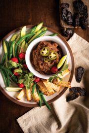 Sweet Potato Black Bean Dip with Pickled Jalapenos
