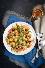 Grilled New Potatoes and Lentils with Creamy Lemon Dressing
