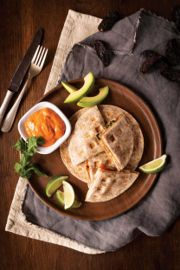 Waffled Chicken Quesadillas with Chipotle Pepper Sauce