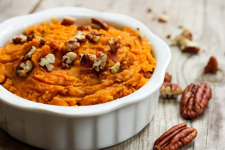 Mashed Sweet Potatoes with Pecans