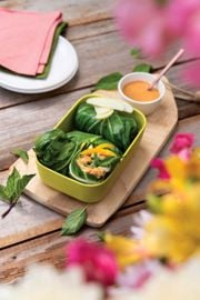 Lettuce or Collard Wraps with Thai Basil, Tempeh, and Peanut Sauce