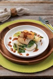 Roasted Black Cod or Turbot with Bok Choy, Maple, and Miso