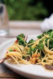 Sautéed Rapini with Spaghetti, Garlic, Toasted Walnuts, and Anchovies