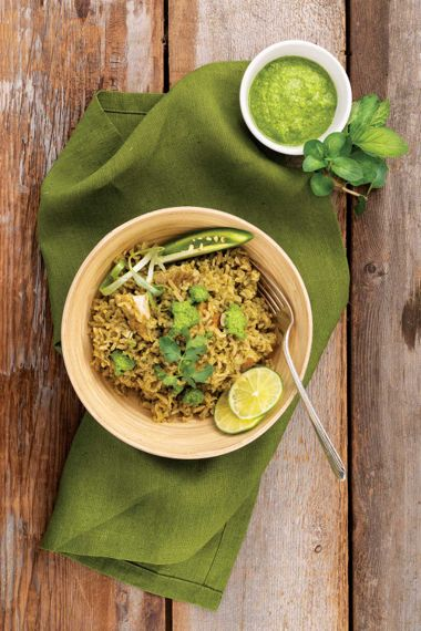 Cilantro Rice with Chicken and Mint Sauce