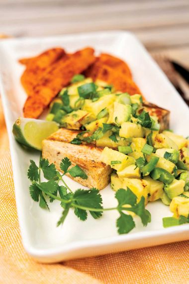 Fruity Tofu with Sweet Potato Wedges