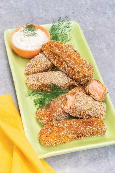 Quinoa Crusted Salmon Sticks