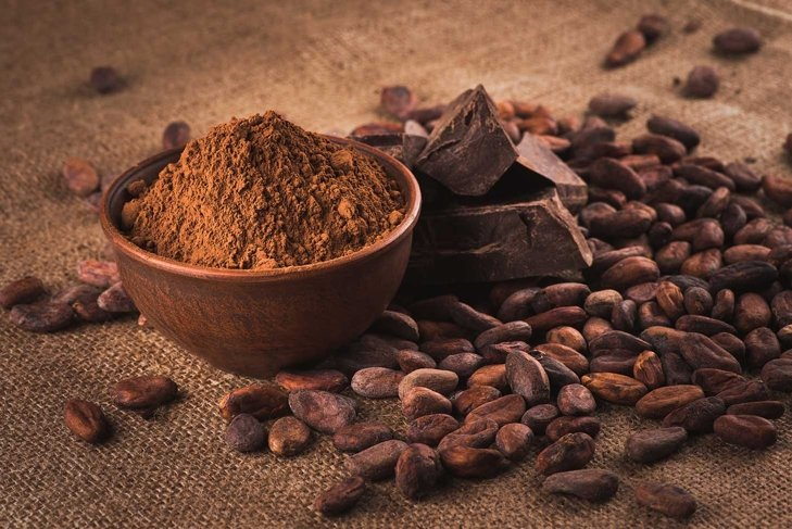Raw cocoa beans, clay bowl with cocoa powder, chocolate on sacking
