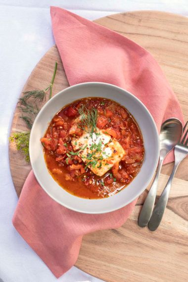 Halibut Poached in Tomato Red Pepper Sauce
