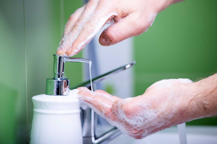 Washing hands, rubbing with soap for coronavirus prevention. Hygiene to stop spreading coronavirus.
