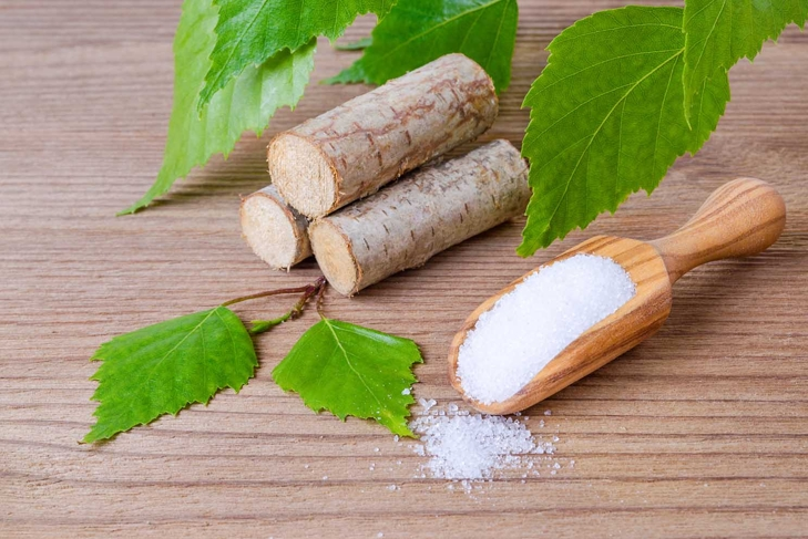 sugar substitute xylitol, scoop with birch sugar, liefs and wood