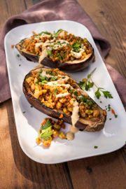 Freekeh Medley Stuffed Eggplant