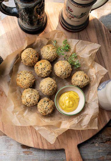 Crispy Breaded Sauerkraut Balls with Tempeh, Chia, and Mushrooms