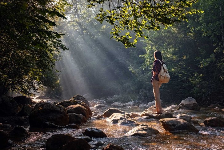 A woman explores new, magical, and fantastic places around the world, surrounded by nature and spreading her arms to breathe and relax. Female hiker crossing the forest creek.